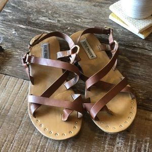 Steve Madden Brown Strappy Sandals with Gold Studs